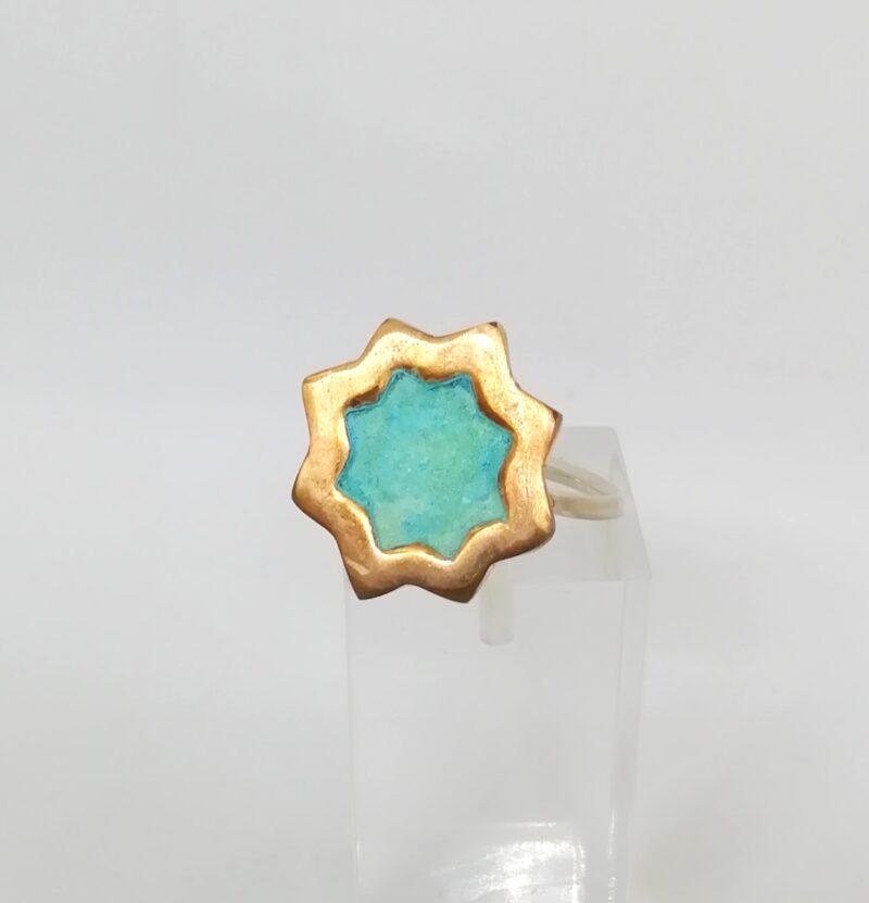 anillo cruz verde