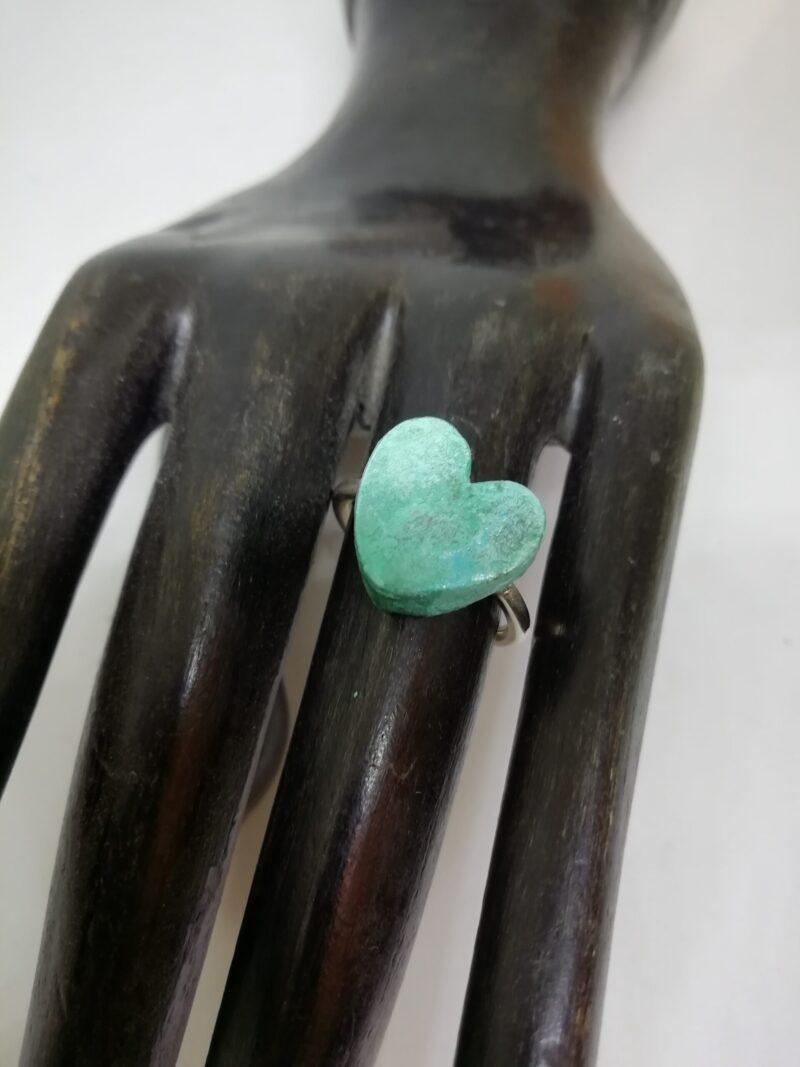 anillo corazon grande verde